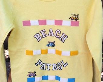 Vintage Yellow Beach Patrol Sweatshirt 80s Women Size M