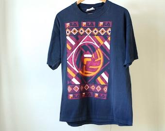 vintage FILA 90s soccer football keith haring style SPORTSWEAR nike style t shirt