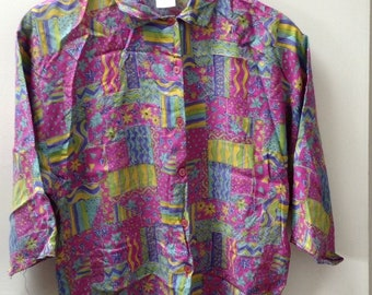 Vintage Women's Neon Bright Blouse Abstract Blogger