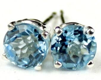 Swiss Blue Topaz, 925 Sterling Silver Post Earrings, SE012
