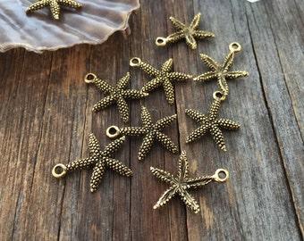 Antique Brass Small Starfish Charms, 16x20mm, 2pcs / Nunn Designs, Starfish Pendants, Nautical, Beach Charms, Star Fish, Jewelry Supplies