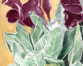 Callas, purple flowers. watercolor in shades of plum and Green: wall decor