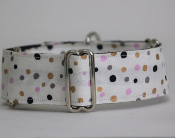 "Greyhound White Confetti 1.5"" Martingale Collar"