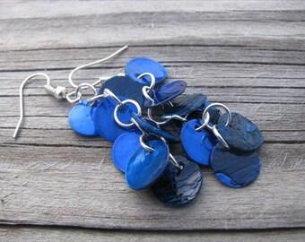 Blue Shell Dangle Earrings