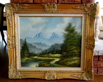 Beautiful Vintage Ornate Gilt Frame Mountain Landscape Oil Painting On Canvas Sgnd Rothman