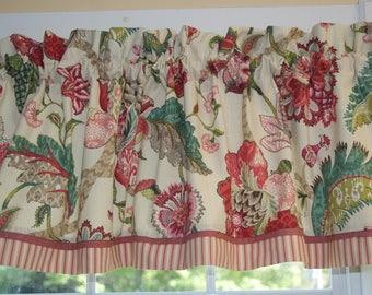 "Pink Teal P Kaufmann Green Beige Jacobean Toile Valance 17"" x 55"" Dra Wt. Curtain Window Treatment"
