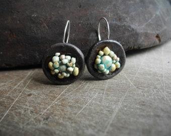 Ceramic earrings,Handmade earrings,Silver wire,Jewelry.Original earrings,Ceramic  jewelry,gift,Structures,