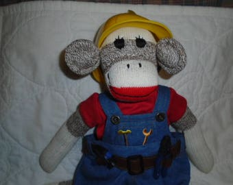 Builder/Constuction Worker Sock Monkey Doll