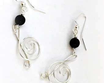 Treble Clef Wire Wrap Earrings - Musical Note Jewelry - Wire Wrap Music Note Adornment- Treble Clef Earrings - G Clef Musician Gift - Music