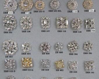 SALE. 42 Assorted Rhinestone Button Brooch Embellishment Gold Crystal, Silver Crystal Wedding Brooch Bouquet.