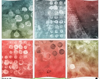 Shabby Blue Red Green Painted Digital Printable Background Papers Instant Download Set of 6 - 8.5 x 11 inch JPEG & PDF Commercial Use 2013