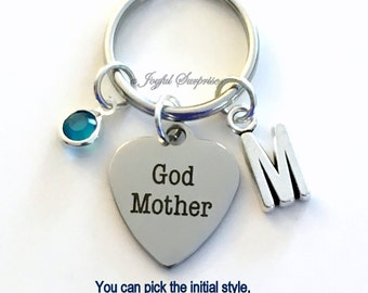 Gift for God Mother Keychain, Godmother Key Chain from God Daughter Son Gift for Keyring Personalized Initial Birthstone birthday present