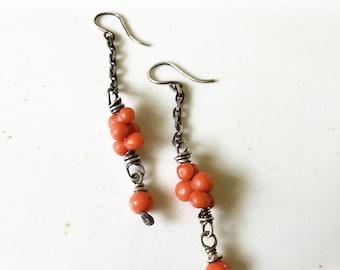 Mediterranean Coral Beads Sterling Silver Dangle Drop Earrings