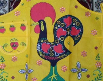Rooster with Yellow Decorative Design  - w/Portugal Printed on Front - Chef's Apron - 100% Cotton