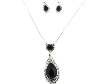 Jet Crystal Necklace and Earring Set