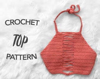 crochet crop top pattern, crochet pattern, crochet halter top pattern, picture tutorial, digital pattern, instant PDF download, LIAM