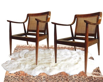 Mid Century Modern Lounge Chairs Scoop Arm Chairs PAIR Danish Style Cane  Matching Cane Back Low
