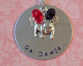 Hand Stamped University of Georgia Go Dawgs Necklace