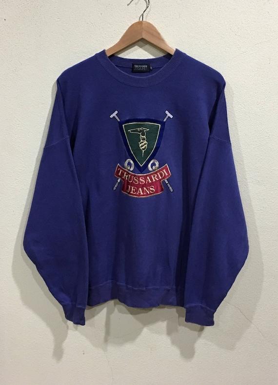 Vintage TRUSSARDI spellout jumper sweatshirt 15IFIcQnyQ