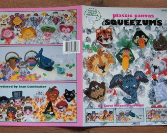 Vintage 80s Plastic Canvas pattern SQUEEZUMS fish zoo animals Easter hearts thankgiving children