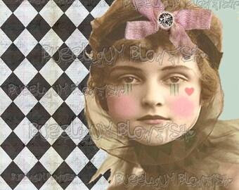 Harlequin Clown Girl with heart circus clown  Digital art Download