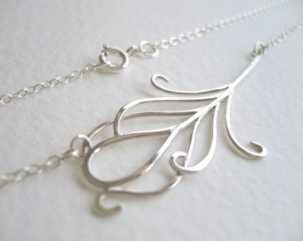 Small Peacock Feather Necklace in Sterling Silver -  by Kirsty O'Donnell