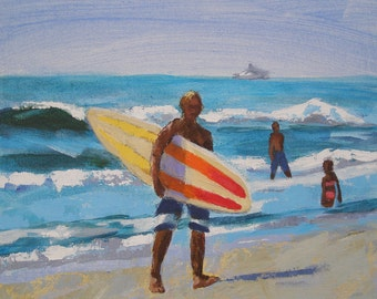 "Surfer Painting- Archival Print- 8""x8"" -""Another Surf Day"""