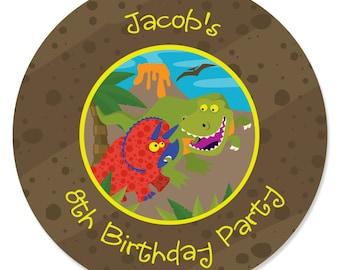 24 Custom Dinosaur Circle Stickers - Personalized Birthday Party Supplies