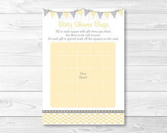 Chevron Baby Shower Bingo / Chevron Baby Shower / Baby Shower Bingo Game / Yellow & Grey / Gender Neutral / Printable INSTANT DOWNLOAD A208