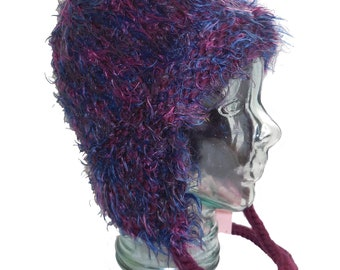 Large Funky Purple and Red Earflap Hat