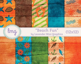 "Beach Digital Scrapbooking Paper - ""Beach Fun"" - Wood Texture, Nautical, Starfish, Flowers, Sun, Seashells, Waves, Instant Download, CU"