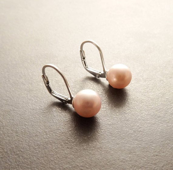 8 mm GENUINE Pink Shell Pearl Earrings, Sterling Silver, Lever Back Earrings, Minimalist, PearlJewelry, Prom, Wedding, Bridesmaids Gifts