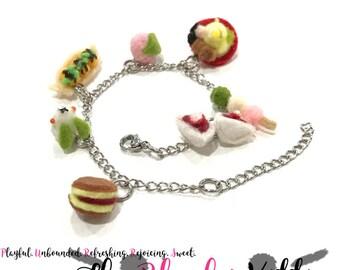 Japanese Food Charm Bracelet - Felt Kawaii Cute Miniature Accessories Limited Edition by The Blushy Kitten {READY TO SHIP}