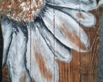 Painted Daisy Pallet Wall Art