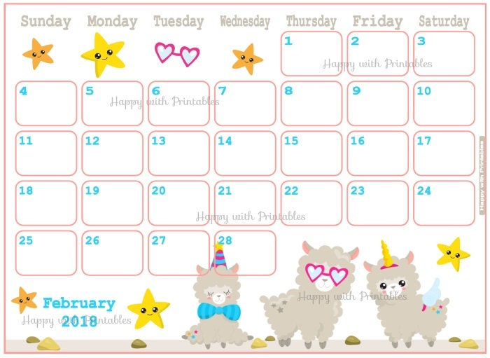 Calendar February 2018 Cute lama Planner Printable Cute
