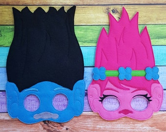 Troll Felt Masks * Trolls * Halloween Costume * Halloween * Birthday Party * Party Accessory * Gift * Dressup