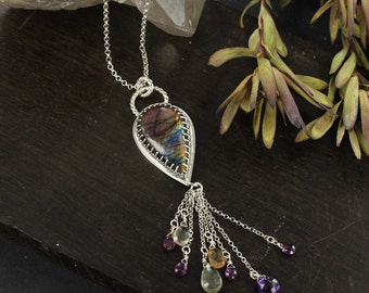 Labradorite necklace - Boho necklace - Drop necklace - Handmade