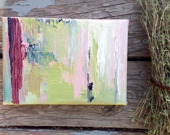 Original Green and Pink ABSTRACT Painting 4x6 on Canvas