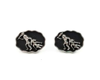Swank Caveman Cufflinks - Silver and Black Cufflinks, Mens Cufflinks, Novelty Humor, Retro Mid Century, Bachelor Party, Gifts for Him