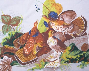 """Midcentury fabric piece Crabtree & Evelyn rustic hunting quail fruit scene lodge cotton printed 50's 60's faded tablecloth spread 57""""x70"""""""