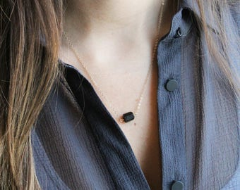Natural Black Raw Tourmaline Necklace, 14K Gold filled & Silver