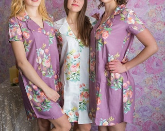 Bridesmaids Night Shirts in Angel Song Pattern - Short Sleeved Notched Collar Style