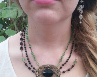 BLACK AND GREEN brass and glass  vintage  antique assemblage necklace