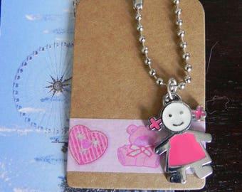 label kraft 7 x 4 cm and candy pink girl enamel charm