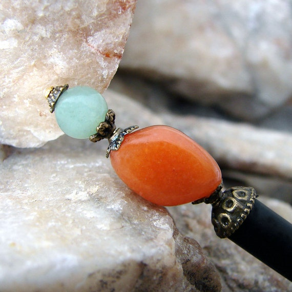 Aventurine Hair Stick Japanese Red And Green Gemstones Geisha