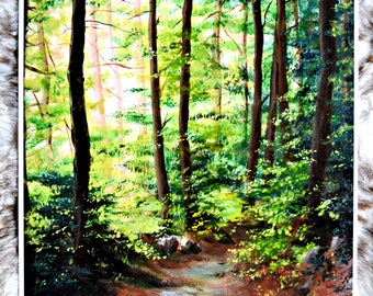 Lush Summer Forest Painting Print
