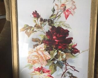 Vintage framed roses priint