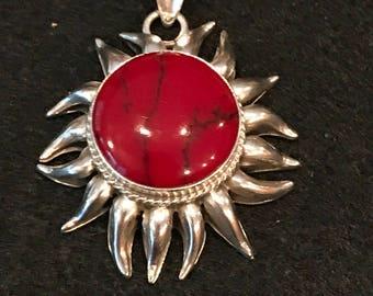 Large Sterling Silver & Red Jasper Sunburst Pendant