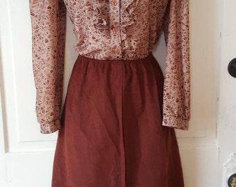 70's ABSTRACT PRINT SHIRTWAIST Dress // Sheer See Through Faux Suede Brown Dress Shirtwaisted Button Down Ruffle Size M/L 80's