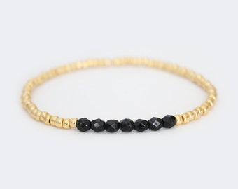 Jet Black and Gold Beaded Bracelet - Navi